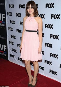 Pretty in pink: Alexis wore a pink sleeveless ruffle dress to the screening at the SVA Theater