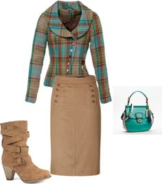 """fall"" by aaronjillthomas on Polyvore. LOVE, LOVE, LOVE! I would choose a pump, not those boots though. :-)"