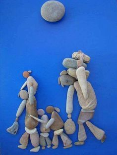 Art with rock. Pebble Painting, Pebble Art, Stone Painting, Arts And Crafts, Diy Crafts, Rock Design, Stone Crafts, Shell Art, Fantasy Artwork