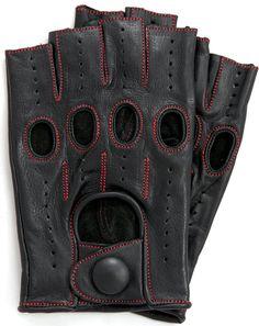Riparo Fingerless Driving Gloves Black/Red thread