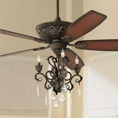 Casa Contessa Dark Bronze Chandelier Ceiling Fan Above