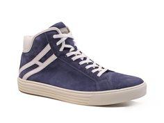 Hogan Rebel men's high sneakers in blue Chamois leather