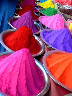 Dyes for Holi Festival, India True Colors, All The Colors, Vibrant Colors, Colorful, India Colors, Happy Colors, World Of Color, Color Of Life, Happy Holi Images