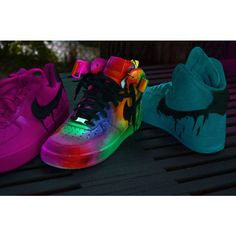 Neon Contrast Nike Air Force 1 Customs ($200) ❤ liked on Polyvore