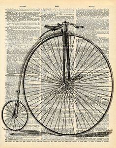 Vintage Dictionary Print - Penny Farthing Bicycle