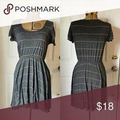 Gray w/ Sparkling Gold Stripes Cotton Dress Light and Breezy Cotton Gold Stripe Dress Everly Dresses Mini