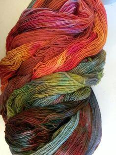 Hand dyed yarns by Mystic Beach Studio