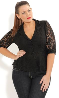Plus Size Lace Jacket - City Chic - City Chic