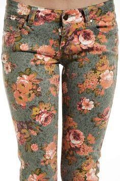 Retro Floral Skinny Jeans - Floral Skinny Jeans For Women #floral #jeans www.loveitsomuch.com