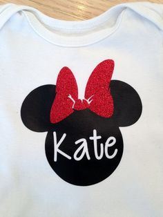 Items similar to Personalized Minnie Mouse inspired iron on applique decal for t-shirts, bags, custom made with your name on Etsy Disney Shirts For Family, Shirts For Teens, Iron On Applique, Fabric Bags, Silhouette Projects, Disney Trips, To My Daughter, Minnie Mouse, Easy