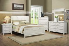 Give your bedroom a rustic feel with this white-washed queen size wood bed. This bed has cottage-inspired planking on the headboard and footboard and includes a set of rails and three slats. Sturdy poplar wood gives you a bed that will last Queen Size Bed Sets, Queen Size Bedding, White Bedding, Bedding Sets, King Size, Queen Beds, Cheap Furniture, Bedroom Furniture, Furniture Sets