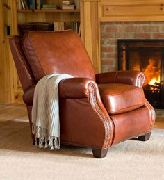 Chestnut Leather Push-Back Recliner offers support and style. Push back to recline in & Leather Recliner that doesn\u0027t look like a recliner | Family Room ... islam-shia.org