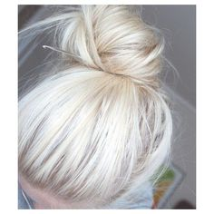 Platinum Hair Messy Bun ❤ liked on Polyvore featuring hair and hairstyles