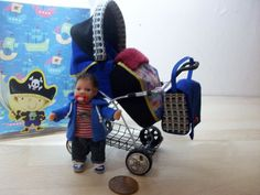 b'ful OOAK baby boy+ rear facing buggy/pram *jake, pirates*  1/12, dolls house