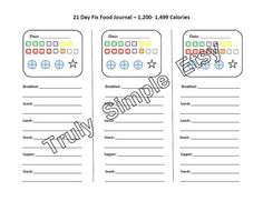 21 Day Fix Tally Sheet in each calorie range to use with the beachbody fitness program. Instant download PDF file to track your food and exercise. food journal tracker