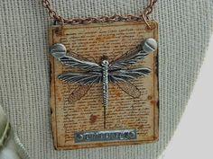 Dragonfly pendant specimen Steampunk  mixed media jewelry