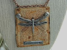 Dragonfly pendant specimen Steampunk  mixed media jewelry