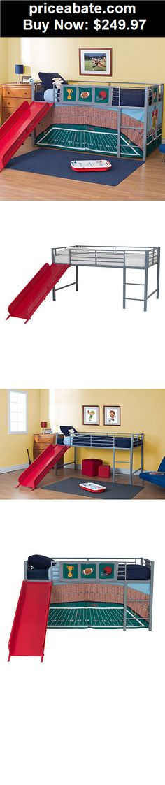 Kids-Furniture: Loft Bed With Slide Ladder Metal Junior Twin Kids Boys Girls Bedroom Furniture - BUY IT NOW ONLY $249.97