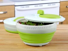 The Progressive Collapsible Salad Spinner collapses to half its size for compact storage and expands to full size for use. GetdatGadget.com/save-space-progressive-collapsible-salad-spinner/