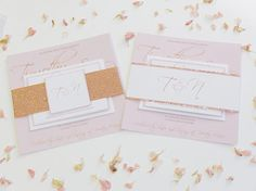 Rose Gold and Blush Wedding Invitation set Wedding Invite