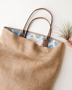 Jute Linen Ikat beach bag that's reversible too