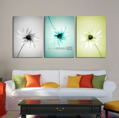 Large Wall Art MixColor Flower Canvas Print - Contemporary 3 Panel Triptych Aqua Flower Canvas Art Large Wall Art