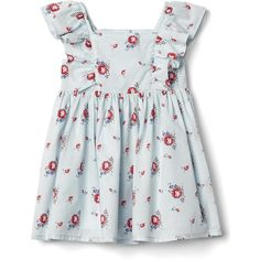 Floral flutter dress ($35) ❤ liked on Polyvore featuring dresses, ruffled dresses, flower printed dress, floral ruffle dress, flower pattern dress and flounce dress