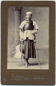 ba163 1906 Japan Old Photo Japanese Swordsman / Kendo Budo Sword Armor Samurai