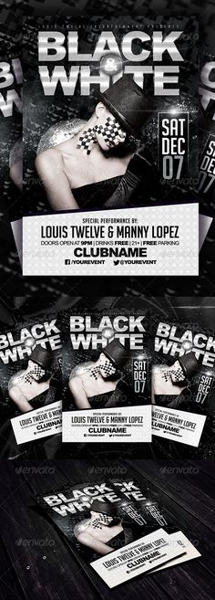 Black and White Party Flyer Template #GraphicRiver A simple, creative, and elegant design for promote your Black and White Event or Black party. PSD Features: CMYK Color | 300 DPI | Print Ready | SUPER EASY to EDIT and Layers Well Organized in folders. Fonts Used: Arial & Arial Black (System Font) Big Noodle Titling: .dafont /bignoodle-titling.font Model is not included. [If you need help, please write me to: louistwelve@gmail I'm at your service] Thank you and Enjoy It! Please, Don't forget…