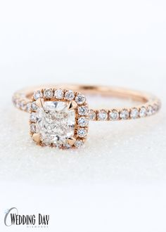 6e6feb27e2ac65 The PERFECT engagement ring! Rose Gold Cushion Cut Diamond Halo Engagement  Ring from The One Collection - exclusively at Wedding Day Diamonds