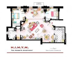 Artist Recreates TV Show Apartments With Intricate Floorplans: How I Met Your Mother | Image courtesy of Tumblr, Inaki Aliste Lizarralde.