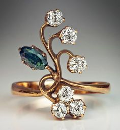 Antique Russian Alexandrite Diamond Gold Art Nouveau Flower Ring | From a unique collection of vintage more rings at https://www.1stdibs.com/jewelry/rings/more-rings/