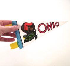 Ohio Souvenir Pennant, Vintage Miniature Sized Felt Flag by planetalissa on Etsy