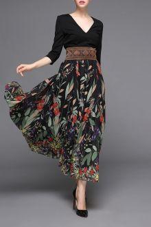V-Neck Print Ruffle Dress