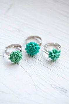 #mint #flower #rings | #anelli #verde #menta #fiore
