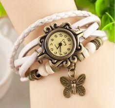Women Fashion Vintage Butterfly Drop Leather Bracelet Watch Wrap Watch - Google Search