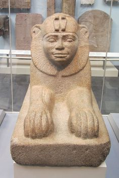The Sphinx of Taharqa, granite gneiss, circa 680 BC. Taharqa was a Nubian pharaoh of the Ancient Egyptian 25th dynasty and king of the Kingdom of Kush, which was located in Northern Sudan. British Museum.