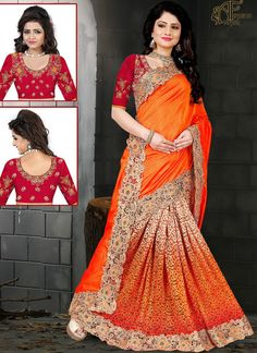 Orange Silk Party Wear Saree