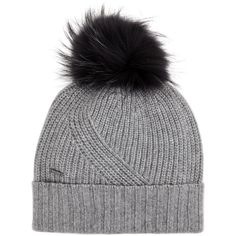 Woolrich Grey fur pompom beanie (€105) ❤ liked on Polyvore featuring accessories, hats, pom beanie, fur hat, beanie hat, fur pom-pom hats and pom pom hat