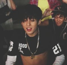 Ummmm... Kookie sweetheart..... Are you aware that your seemingly developed abs are showing?? •-• I mean good GOD, don't you have any MANNERS!? -_- /.\ >_<