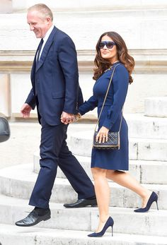 Navy is trending for fall! Just check out Salma Hayek rocking a frock 'n' sunnies in the coveted deep blue hue.