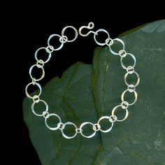 Chain Bracelet Sterling Silver Metal Hammered Link Circles, Wire Jewelry, Simple Handcrafted Metalwork, Handmade Designed by Wv Works