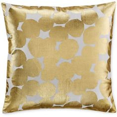 """kate spade new york Gold Random Dot 18"""" Square Decorative Pillow ($50) ❤ liked on Polyvore featuring home, home decor, throw pillows, gold, gold toss pillows, kate spade, gold home decor, gold throw pillows and polka dot home decor"""