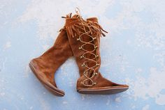 vintage 70s Moccasin Boots - Minnetonka Moccasins - Native American Brown Suede Fringe Boots Sz 6 on Etsy, $63.00