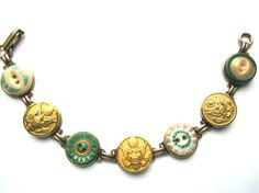 ARMY antique uniform button bracelet, 1800s buttons. Show your support for your soldier & our troops. ARMY MOM, ARMY WIFE