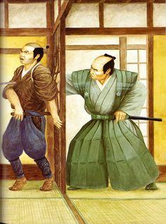 Samurai castle guard killing a intruder Japanese History, Japanese Art, Warring States Period, C Ops, Japanese Warrior, Samurai Armor, Edo Period, American Pride, Medieval