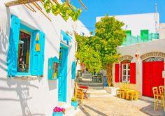 Colorful alley in Amorgos island, Greece CallGreece.gr