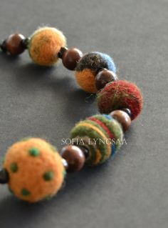 22. Handmade Needle Felted Necklace in Multicolor by SofiaLyngsaa, $36.00