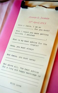 photographed by www.hepburnphotography.co.uk -  Inspire your guests to write funny remarks with a short questionnaire, more fun than a simple guest book!