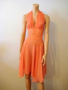 Sexy Halter Style Chemise Sheer Coral Lace - Vintage Renude.com